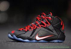 Nike Lebron 12 684593-016 Preto/Carmesim brilhante/Branco produtos de basquete