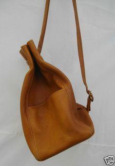 Vintage COACH Handbag Drawstring Backpack Leather Bag Saddle Pocketbook Purse