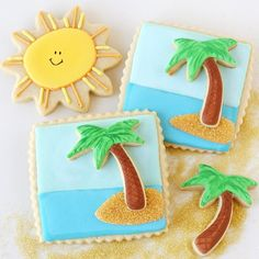 Palm tree sunshine cookies! Dreaming of the beach... and cookies! Glorious treats  ☀️ Find the recipe and step by step tuto