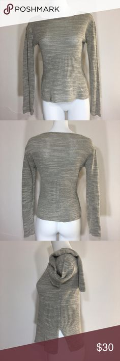 "Moth Anthropologie Medium Textured Knit Top Gray Brand: Moth Size: Medium Color: Gray Style/Specifics:  Long Sleeve Knit Top - Ribbed Waist - Textured Material - Linen Blend - Split Sides on Hips - Round Neckline    ALL MEASUREMENTS ARE APPROXIMATE AND TAKEN WITH GARMENT LAYING FLAT  Armpit to Armpit 19"" Bottom of Hem from Hip to Hip 17.5"" Length 22"" Sleeves 22.5"" Anthropologie Tops Tunics"