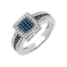Malaika .925 Sterling Silver 0.48 Carat Genuine Blue & White Diamond Ring ( I-J) ( I2-I3)
