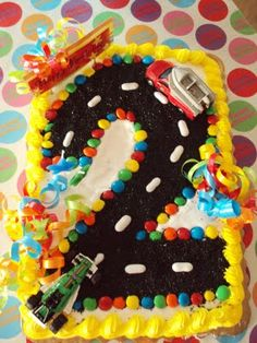 2nd Birthday Cake (cars) - so easy to turn a sheet cake into a number cake! Much easier than cutting out a number shape! - @Corey Reece Reece . Bornemann