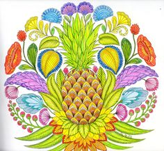 Adult Coloring Book Titled Tropical World Featuring The Artist Millie Marotta Colored With Prismacolor Pencils And Fine Lined Color Pens
