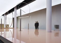 The largest space hosts a kinetic light installation, featuring four pieces in stainless steel