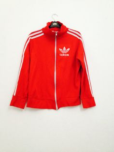 SALE-Vintage Addidas red and white jacket by ShellysRelics on Etsy