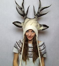 White Deer Antlers Costume Hat  Fawn Antlers by FeltYourself