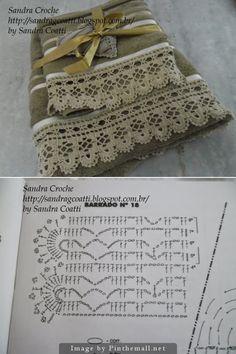 Crochet Lace Edging for Handtowel ~~ http://sandragcoatti.blogspot.com.br                                                                                                                                                     More