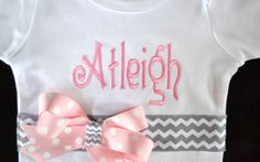 Monogrammed Onesie Personalized Bodysuit Baby Girls Toddler Applique Embroidery Personalized Custom Design Name Monogram Chevron GR/PK