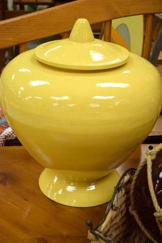 "Decorative Bright Yellow Bulbous Lidded Urn - Fun Way to Add Some Colour! - 12"" Diameter x 16"" H"
