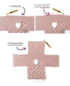 Crochet Baby Kimono- Pattern & Tutorial – NEO Crochet Baby Kimono Jacket [ Baby Knitting Pattern & T Pull Crochet, Free Crochet, Knit Crochet, Booties Crochet, Crochet Hats, Baby Knitting Patterns, Baby Patterns, Free Knitting, Start Knitting