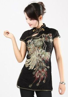 FS black  chinese silk women jacket Top dress/T-shirts blouse sz:M L XL XXL 3XL