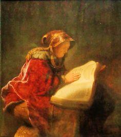 'Oude lezende vrouw' door Rembrandt van Rijn uit 1631. Het licht komt van achteren: het felste schijnsel valt op het boek en de gerimpelde, met verf geboetseerde hand van de oude vrouw. Haar gezicht blijft in de schaduw. De vrouw zou de profetes Hanna kunnen zijn, volgens het evangelie van Lucas een bejaarde weduwe die dag en nacht God diende met vasten en bidden.