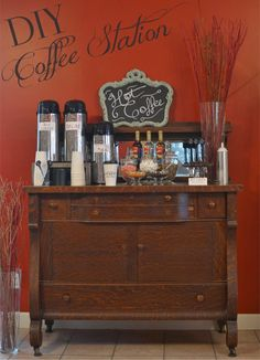 Guests will love having a late-night coffee station at your wedding reception. Personalized cups and swizzle sticks add a little extra flair and turn these fun drink creations into take-home favors. See more at http://blog.myweddingreceptionideas.com/2014/12/diy-wedding-reception-coffee-station.html