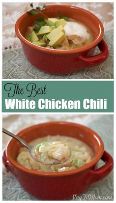 The Best White Chicken Chili you have ever had! We make this multiple times every winter and is such an easy dish! Canned Chicken, How To Cook Chicken, Soup Recipes, Healthy Recipes, Delicious Recipes, Fast Recipes, Clean Recipes, Healthy Foods, Amigurumi