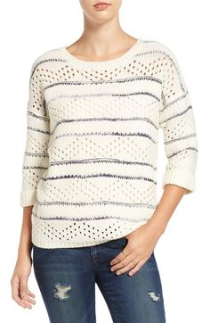 Free shipping and returns on Elodie Stripe Pointelle Knit Sweater at Nordstrom.com. Streaky navy stripes enhance the easygoing drop-shoulder silhouette of an ivory pointelle-knit sweater finished with cuffed three-quarter-length sleeves.