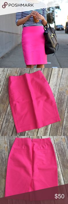 "J Crew No 2 Double Serge Pencil Skirt Neon Pink J Crew No 2 Pencil Skirt in Neon Pink. Size 2. Approximate length is 23"". Worn only once for a couple of hours and in excellent condition.  Back Zip. ⚓No trades or holds. I negotiate only through the offer button. Any measurements listed are approximate since I am not a seamstress. 🚭🐩HB J. Crew Skirts Midi"