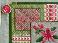 Two-Handed Stitcher by Laura: Friday Flowers: a peek at a new needlepoint collage pattern