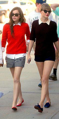 Hailee Steinfield wearing Ann Taylor Riviera Stripe Shorts