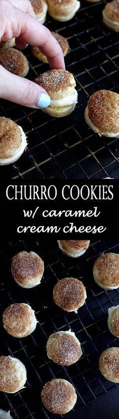 These churro cookies are basically buttery warm pie pastry sprinkled with cinnamon sugar and sandwiched with caramel cream cheese frosting. Churro Cookies with Caramel Cream Cheese Frosting Cookie Desserts, Just Desserts, Cookie Recipes, Delicious Desserts, Dessert Recipes, Yummy Food, Cookie Table, Weight Watcher Desserts, Churros
