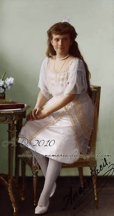 Grand Duchess Anastasia Nikolaevna Romanova of Russia (1901-191), youngest daughter of the last Tsar Nicholas II., posing for a formal photo in 1914