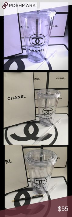 Chanel VIP gift cup + 1 Chanel pen Great gift idea! Includes Chanel cup, acrylic straw and one Chanel pen! CHANEL Accessories