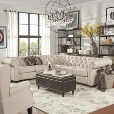 Beekman Place Two & Three Chesterfield Sectional Oatmeal - Inspire Q - August 10 2019 at Home And Living, Room Design, Living Room Furniture Layout, Furniture, Home, Interior, Farm House Living Room, Home Decor, Living Room Designs