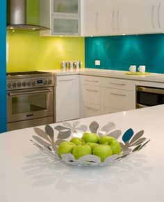 Love this idea...except the lime green would be replaced by a deep blue and the teal would be a lighter aqua...to match my beachy-keen kitchen vases!