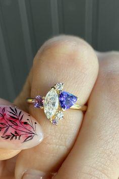 Marrow Fine Jewelry   custom engagement ring & right hand ring Alternative Bridal Jewellery, Fine Jewelry, Jewelry Making, Purple Sapphire, White Diamond Ring, Ring Crafts, Right Hand Rings, Beautiful Engagement Rings, Green Tourmaline