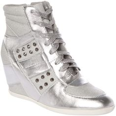 Crafted Studded Wedge Hi-Top Shoes ($32) ❤ liked on Polyvore