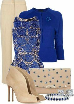 A fashion look from January 2013 featuring blue top, beige pants and high heel ankle boots. Browse and shop related looks. Diva Fashion, Work Fashion, Fashion Looks, Womens Fashion, Classy Outfits, Beautiful Outfits, Casual Outfits, Mode Outfits, Fashion Outfits