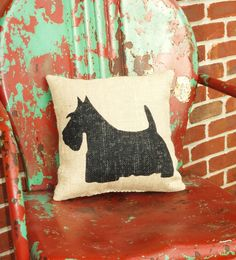 Burlap Pillow with Handpainted Scottie Dog Silhouettte by CourtneesCreations.etsy.com