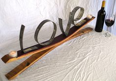 Wine Barrel Candle Holder with LOVE made from Napa Wine Barrel Rings -100% Recycled. $50.00, via Etsy.