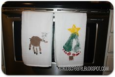Hand and foot stamped Christmas dish towels - the grandparents will love these!