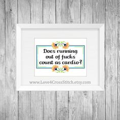 Running Out of Fucks Cross Stitch Pattern Subversive, Swear Cross Stitch, Cardio Cross Stitch, Workout Cross Stitch, Cross Stitch Swearing Funny Cross Stitch Patterns, Cross Stitch Borders, Cross Stitch Charts, Cross Stitch Designs, Cross Stitching, Cross Stitch Embroidery, Embroidery Patterns, Hardanger Embroidery, Hand Embroidery