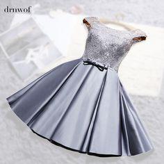 2017 New O-Cổ Ren Satin Ngắn Womens Bóng Áo Choàng Phù Dâu Dresses Tắt Shoulder vai Đôi Wedding Party Prom Dress