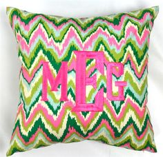 Super cute pink and green monogrammed pillow