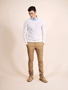 Shop this look on Lookastic:  http://lookastic.com/men/looks/light-blue-dress-shirt-white-cable-sweater-khaki-chinos-tan-desert-boots/10133  — Light Blue Dress Shirt  — White Cable Sweater  — Khaki Chinos  — Tan Suede Desert Boots