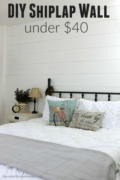 DIY Shiplap Wall for under $40 | Hoosier Homemade | Bloglovin'
