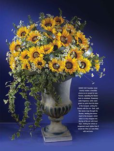 SUNNY DAY Feverfew (matricaria) makes a beautiful choice as an accent for sunflowers, repeating the flower form in miniature. Rosemary adds fragrance, while variegated ivy spills from the base of the bouquet, uniting the flowers with the urn. Dark, split flax leaves loop through the flowers.
