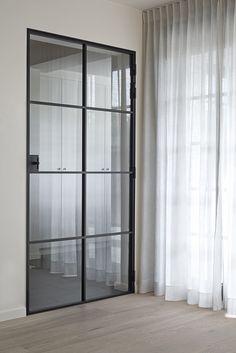 D'Hondt Interieur Steel Doors And Windows, Glass Partition, Floor Colors, Carpet Tiles, Shower Doors, Glass Doors, Door Design, Built Ins, New Homes