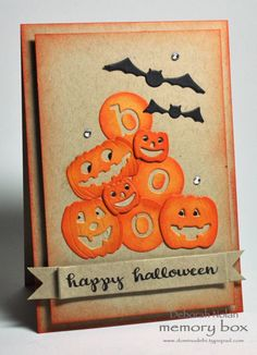 Divertissant Halloween Boo The post Happy Halloween Boo (Outside The Box & Dave Beathauer) appeared first on Upload Box. Fröhliches Halloween, Halloween Paper Crafts, Halloween Treats, Fall Cards, Holiday Cards, Christmas Cards, Card Making Inspiration, Making Ideas, Memory Box Cards