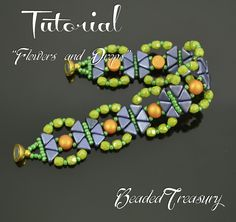 """""""Flowers and Drops"""" beadwoven bracelet tutorial by BeadedTreasury. For this project were used 6mm 2-hole cabochon beads,  6mm two-hole Kheops par Puca beads, 4mm fire polished beads seed beads size 11/0."""