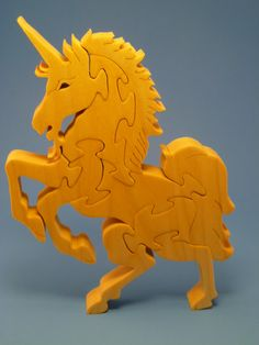 Scroll Saw Wooden Unicorn Puzzle Wood Handmade by WoodAnimals, $25.00