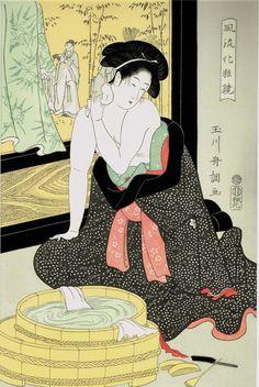 """Japanese Ukiyo-e Woodblock print Tamagawa Shuncho """"Woman Washing Her Neck"""" #ukiyoe #ukiyo"""