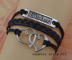 sisters bracelet heart bracelet  the best by CountrystyleDIY, $2.99
