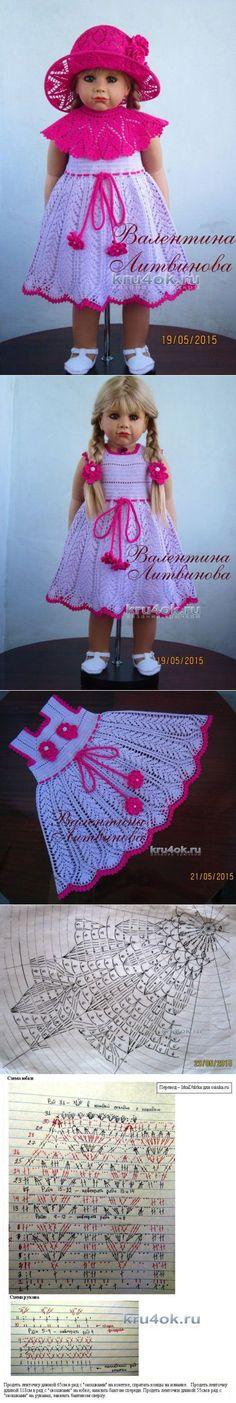 Vestido - transformador y un sombrero para niñas - Crochet en kru4ok.ru