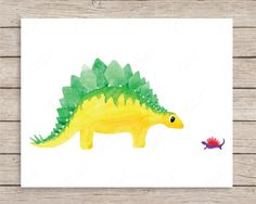 Once upon a time, a stegosaurus and little dinosaur became friends… This print…
