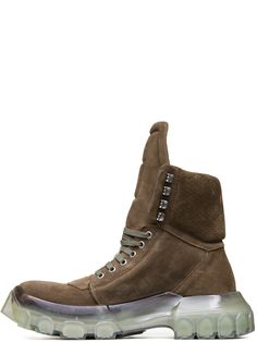 c78a244c0fee RICK OWENS FW18 SISYPHUS OFF-THE-RUNWAY TRACTOR DUNK BOOTS IN DUST GREY  SUEDE COW LEATHER