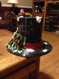 Easy and Fun Christmas Table Centerpiece Decorations – Snowmen Top Hats Cowboy Christmas, Christmas Snowman, Rustic Christmas, Christmas Time, Christmas Ornaments, Christmas Mantles, Top Hat Centerpieces, Christmas Table Centerpieces, Centerpiece Decorations
