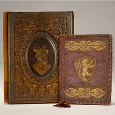 """Marquetry carved and leather book covers. Parchment inside reads """"Made a Amalfi-Italy-Bought there 1897."""""""